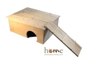Guinea Pig House with Platform Roof and Ladder - Right